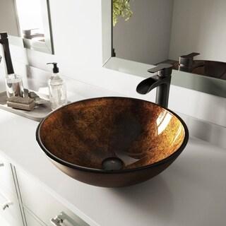 VIGO Russet Glass Vessel Bathroom Sink and Niko Faucet Set