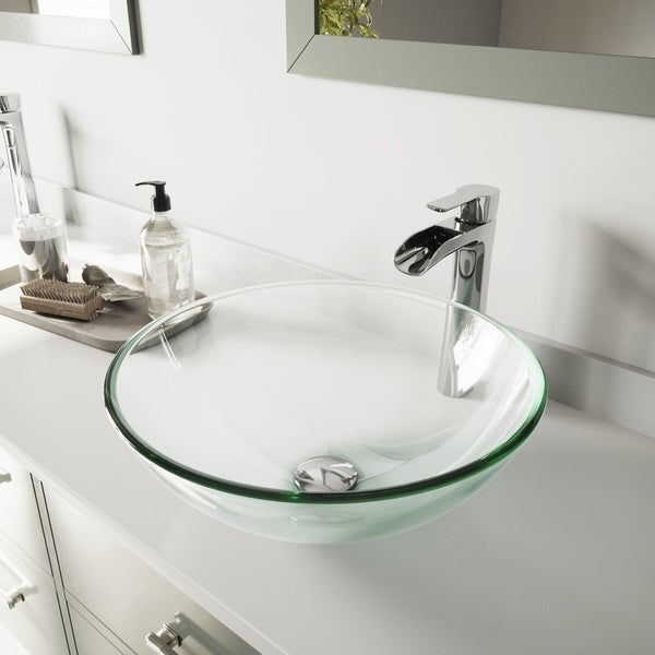 VIGO Crystalline Glass Vessel Bathroom Sink and Niko Chrome Faucet Set