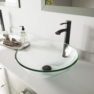 VIGO Crystalline Glass Vessel Bathroom Sink and Milo Faucet Set in Antique Rubbed Bronze Finish