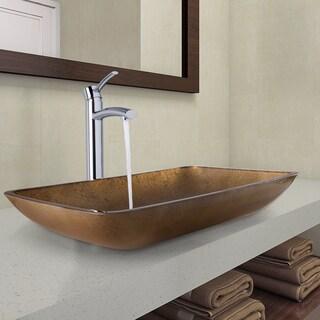 VIGO Rectangular Copper Glass Vessel Bathroom Sink and Milo Faucet Set in Chrome Finish