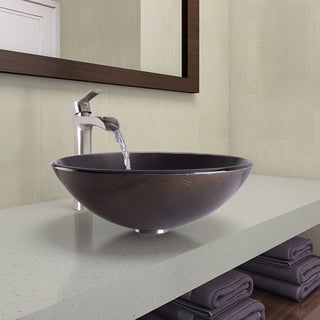 VIGO Sintra Glass Vessel Bathroom Sink and Niko Faucet Set in Brushed Nickel Finish