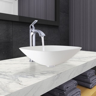 VIGO Square-Shaped White Phoenix Stone Vessel Bathroom Sink and Linus Faucet Set in Chrome Finish