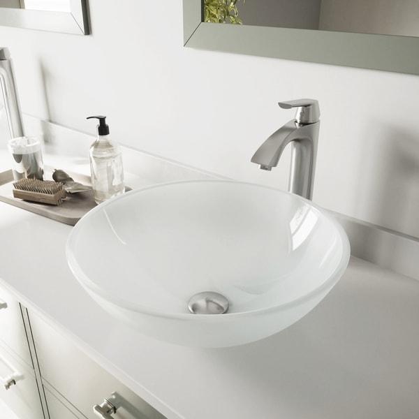 VIGO White Frost Glass Vessel Bathroom Sink Set with Linus Faucet. Opens flyout.