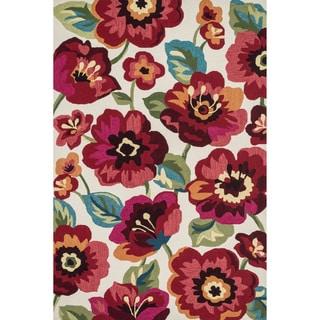 Hand-hooked Charlotte Ivory/ Fuchsia Poppy Rug (5'0 x 7'6)