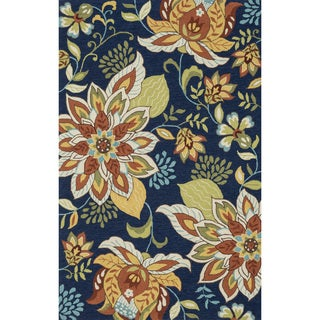 Hand-hooked Charlotte Blue/ Floral Rug (7'6 x 9'6)