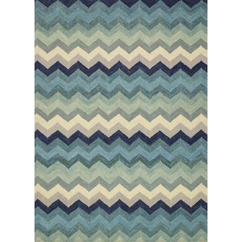 "Hand-hooked Aqua Blue/ Purple Chevron Wool Rug - 9'3"" x 13'"