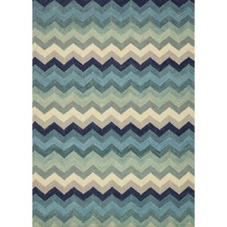 Hand-hooked Tessa Multi/ Blue Chevron Wool Rug (9'3 x 13'0)