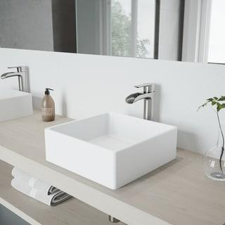 VIGO Bavaro Matte Stone Vessel Sink and Niko Faucet Set in Brushed Nickel Finish