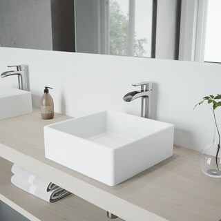 VIGO Dianthus Matte White Finish Stone Vessel Sink and Brushed Nickel Niko Faucet Set with Pop-up Drain