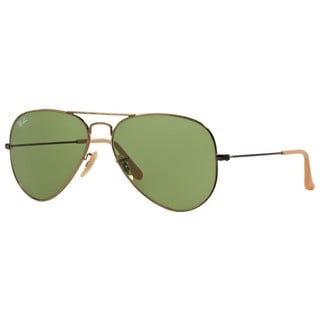 Ray-Ban RB3025 177/4E Aviator Distressed Unisex Gold Frame Green 62mm Lens Sunglasses
