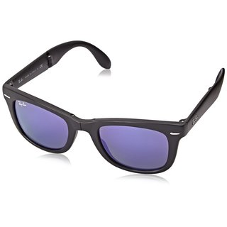 Ray-Ban RB4105 601S1M Wayfarer Unisex Black Frame Violet Mirror 50mm Lens Sunglasses