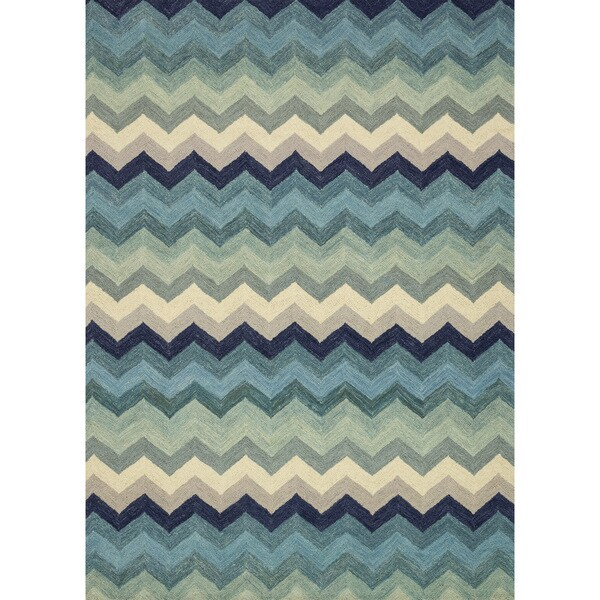 Hand-hooked Tessa Multi/ Blue Chevron Wool Rug - 7'10 x 11'