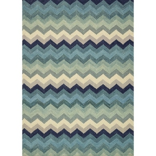 Hand-hooked Tessa Multi/ Blue Chevron Wool Rug (7'10 x 11'0)