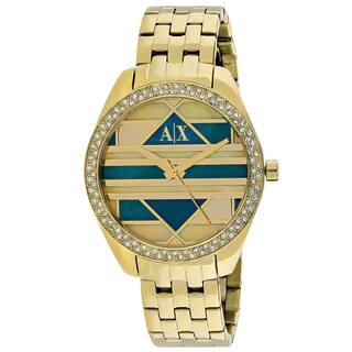 Armani Exchange Women's AX5527 Serena Round Gold Tone Stainless Steel Bracelet Watch https://ak1.ostkcdn.com/images/products/11118551/P18120646.jpg?impolicy=medium