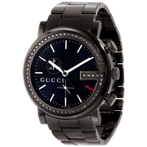 4bc72d6f7b3 Gucci Men  x27 s YA101347 G-Chrono Round Black Stainless Steel Bracelet  Watch