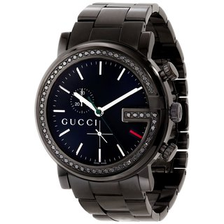 Gucci Men's YA101347 G-Chrono Round Black Stainless Steel Bracelet Watch