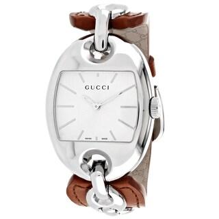 Gucci Women's YA121311 Marina Tonneau Brown Leather Strap Watch
