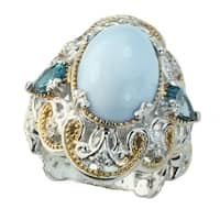 Michael Valitutti Blue Opal and London Blue Topaz Ring