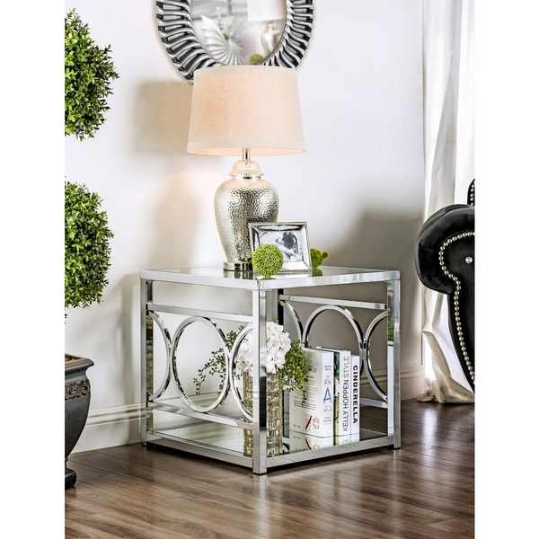 Furniture Of America Mishie Contemporary Glass Top Metal End Table by Furniture Of America