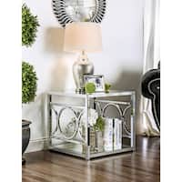 Furniture of America Mishie Contemporary Glass Top Metal End Table