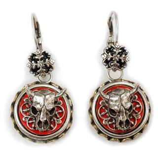 Sweet Romance Country Western Steer Skull Enamel Earrings