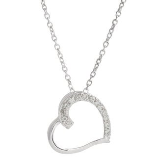 Pori Sterling Silver Cubic Zirconia Embellished Sideways Heart Necklace