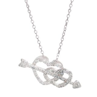 Pori Sterling Silver Cubic Zirconia Arrow in Double Heart Necklace