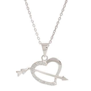 Pori Sterling Silver Cubic Zirconia Arrow in my Heart Necklace