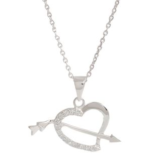 Pori Sterling Silver Cubic Zirconia Arrow in my Heart Necklace
