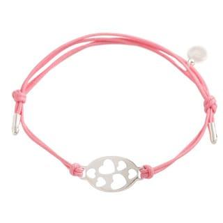 Pori Sterling Silver Oval Charm Hearts Leather Adjustable Bracelet