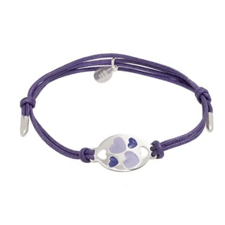 Pori Sterling Silver Oval Charm Enamel Hearts Leather Adjustable Bracelet