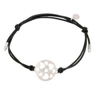 Pori Sterling Silver Circle Charm Hearts Leather Adjustable Bracelet