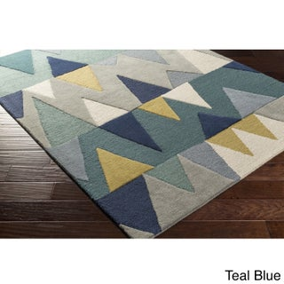 Hand-Tufted Country Wool Area Rug - 4' x 6' (Option: Gold/Teal/Grey - Grey)