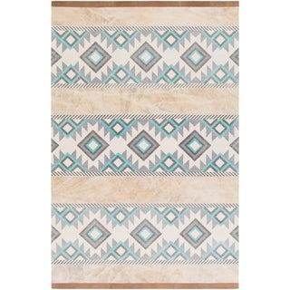 Papilio : Hand-Crafted Brook Cotton/ Leather Rug (5' x 7'6)