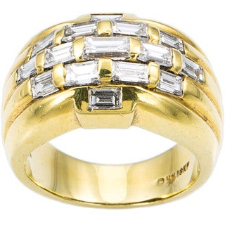 18k Yellow Gold 2ct TDW Diamond Groove Top Baguette Estate Ring Size 6.5 (H-I, VS1-VS2)