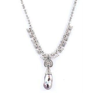 18k White Gold 12ct TDW Diamond and Tahitian Pearl Estate Necklace (H-I, VS1-VS2)