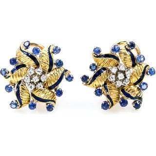18k Yellow Gold 1/5ct TDW Sapphire Floral Estate Earrings (H-I, SI1-SI2)