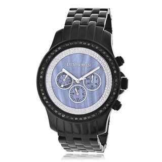 Luxurman Men's 2 1/4ct Black Diamond Blue Mother of Pearl Watch