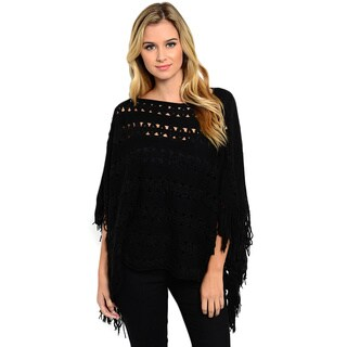 Shop the Trends Women's Open-Knit Poncho Style Pullover with Fringe Trim and Boat Neckline https://ak1.ostkcdn.com/images/products/11119012/P18120989.jpg?_ostk_perf_=percv&impolicy=medium