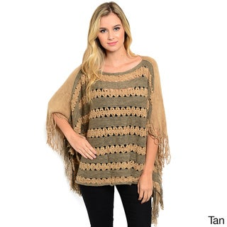 Shop the Trends Women's Open-Knit Poncho Style Pullover with Fringe Trim and Boat Neckline