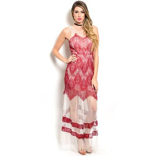 Shop the Trends Women's Sleeveless Gown with Contrast Eyelash Lace Overlaid On Flesh Tone Sheer Fabric