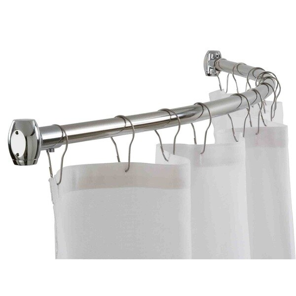 Home Basics Chrome 72 Inch Curved Shower Curtain Rod
