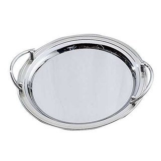 Elegance 13.75-inch Round Stainless Steel Tray with Handles