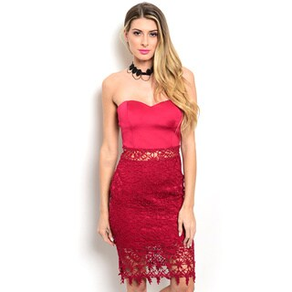 Shop the Trends Women's Strapless Dress with Semi-Sweetheart Neckline and Crochet Lace Inserts On The Waist and Hemline