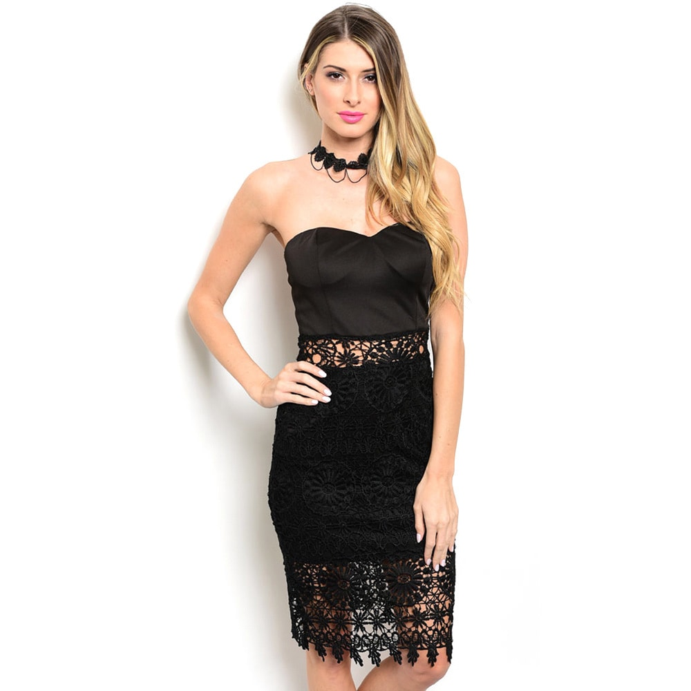 Shop the Trends Women's Strapless Dress with Semi-Sweethe...