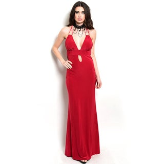 Shop the Trends Women's Spaghetti Double Strap Cutout Gown with Plunging Neckline and A Keyhole Detail