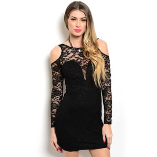 Shop the Trends Women's Long Sleeve High Neck Bodycon Dress with Sweetheart V-Bodice and All-Over Lace Overlay