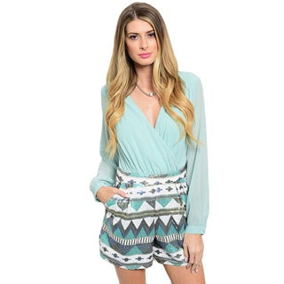 Shop the Trends Women's Long Sleeve Romper with Chiffon Bodice and Sequined Tailored Shorts