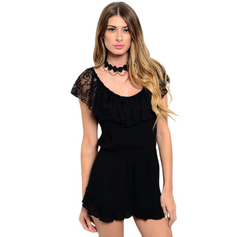 Shop the Trends Women's Sleeveless Romper with Lace Ruffle Neckline That Can Be Pushed Off-Shoulder