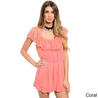 Shop the Trends Women's Sleeveless Romper with Lace Ruffle Neckline That Can Be Pushed Off-Shoulder (4 options available)